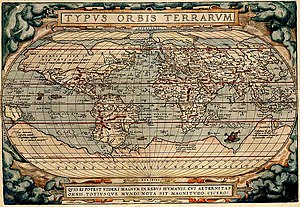 "Terra Australis - 1570 map by Abraham Ortelius depicting ""Terra Australis Nondum Cognita"" as a large continent on the bottom of the map and also an Arctic continent"