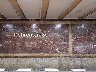 Mohrenstraße (Berlin U-Bahn) - Mohrenstraße underground station, station's name label