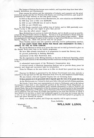 William Lunn - Image: UK Election Flyer 1924 William Lunn MP Rothwell sheet 2