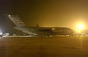 Benazir Bhutto International Airport - The US Air Force was a regular visitor to the airport, providing relief goods for the 2005 Kashmir earthquake, photographed 2005