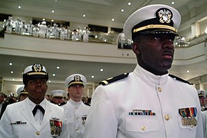 Naval Reserve Officers Training Corps - NROTC Midshipmen being commissioned in May 2004.