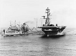 USS Chipola (AO-63) refueling Princeton (LPH-5) 1968