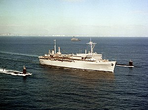 USS Dixon (AS-37) departs San Diego with USS Gurnard (SSN-662) and USS Guitarro (SSN-665) on 17 September 1990 (6464588).jpg