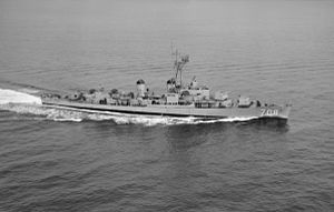 USS Harlan R. Dickson (DD-708) underway in the early 1950s