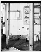 picture of section of Iowa with many holes where Spanish gunfire damaged the ship