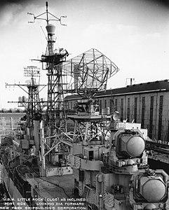 USS Little Rock (CLG-4) at New York Shipbuilding, Camden, on 19 December 1959 (NH 98974).jpg