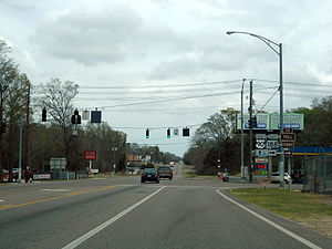 U.S. Route 90 - U.S. 90/Alabama State Route 188 concurrency ends in Grand Bay.