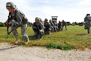 United States Army Air Assault School - Students rehearse ground maneuvers during Combat Assault Phase