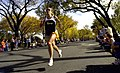 US Navy 041031-N-0502D-394 Lt. Cmdr. Eleanor Stewart-Garbrecht, part of the All-Navy team running the 29th annual Marine Corps Marathon, nears the 16-mile marker as she continues down Independence Ave.jpg
