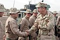 US Navy 060102-M-1226J-007 Chief of Naval Operations (CNO) Adm. Mike Mullen meets with Sailors assigned to the 30th Naval Construction Regiment (NCR) on Camp Fallujah.jpg