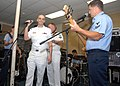US Navy 070515-N-1550W-001 Musician 3rd Class Phil Stacey, top 6 contestant in Fox's American Idol practices with fellow Navy band member upon return to duty with Navy Band Southeast.jpg