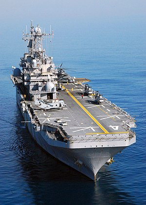 USS Nassau (LHA-4) conducting flight deck qualifications with air combat elements of the 24th Marine Expeditionary Unit (2007).