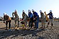 US Navy 081113-N-7526R-073 Capt. Patrick Gibbons, commanding officer of Camp Lemonier, Djibouti and members of the Public Works Department and Petroland construction brake ground on the camp's new post office.jpg