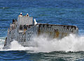 US Navy 090515-N-5345W-201 A landing craft unit (LCU) from Assault Craft Unit 2 (ACU 2) approaches the well deck of the Whidbey Island-class amphibious dock landing ship USS Fort McHenry (LSD 43).jpg