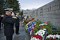 US Navy 100508-N-4371M-002 Vice Adm. Harry B. Harris Jr., right, commander of the U.S. 6th Fleet, and Cmdr. Dale Maxey, commanding officer of the guided-missile frigate USS Kauffman (FFG 59), salute a wreath they placed at the.jpg