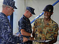US Navy 100514-N-4971L-035 Team Leaders present certificates of appreciation to a member of the Jamaica Defense Force.jpg