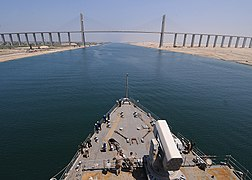 US Navy 100718-N-1082Z-032 The amphibious dock landing ship USS Ashland (LSD 48) prepares to pass under the Egyptian-Japanese Friendship Bridge as it transits the Suez Canal.jpg