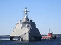 US Navy 111017-N-ZZ999-001 The littoral combat ship USS Independence (LCS 2) transits Narragansett Bay.jpg