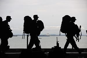 US Navy 111212-M-CR943-171 Marines serving with the 11th Marine Expeditionary Unit (11th MEU) prepare to depart the amphibious assault ship USS Mak.jpg