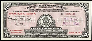 United States Postal Savings System - A certificate of a $5 deposit in the United States Postal Savings System issued on September 10th, 1932