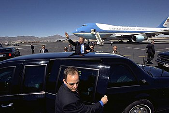 Photo of President Bush with Secret Service Ag...