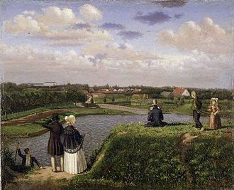 Ny Carlsberg Glyptotek - View from Holck's Bastion of the site which was chosen for the new Glyptotek, painting from 1839 by Sally Henriques