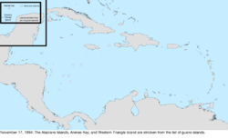 Map of the change to the United States in the Caribbean Sea on November 17, 1894