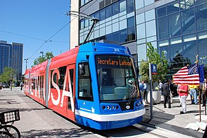 United Streetcar - The prototype streetcar built by United Streetcar, at its unveiling in Portland in July 2009