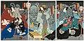 Utagawa Kunisada II - Actors Nakamura Shikan IV as Sakata Kintoki and Onoe Baikô 4.6 as Usui Sadamitsu; Sawamura Tanosuke III as the Courtesan Usugumo, Actually the Spirit of a Spider; Nakamura Chûtarô as Urabe no Suetake and Ichikaw.jpg