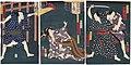 Utagawa Kunisada II - Actors Seki Sanjûrô III as Kouta Hachibei, Ichimura Kakitsu IV as the Hairdresser Bunshichi, Bandô Mitsugorô VI as the Geisha Osaki, and Ichikawa Kodanji IV as the Farmer Ichibei.jpg