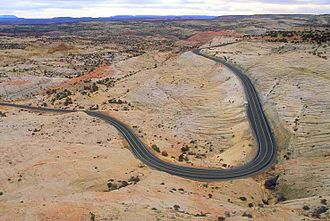 Utah State Route 12 - SR-12, as seen from the Head of the Rocks overlook
