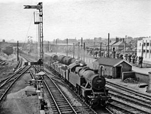 Uttoxeter railway station - Local goods train entering Uttoxeter in 1959