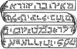 Un vers la Torah, écrit sur un ruban dans l'alphabet hébreu avec quelques signes diacritiques.