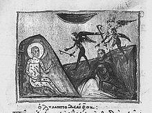 Illustrazione del libro di Giobbe da un manoscritto miniato (1200). Nell'immagine sono presenti Giobbe piagato e due diavoli che gli si avvicinano.