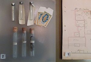 Atlas Vampire - Layout of flat and samples of evidence taken from the crime scene, on display at Stockholm's Police Museum