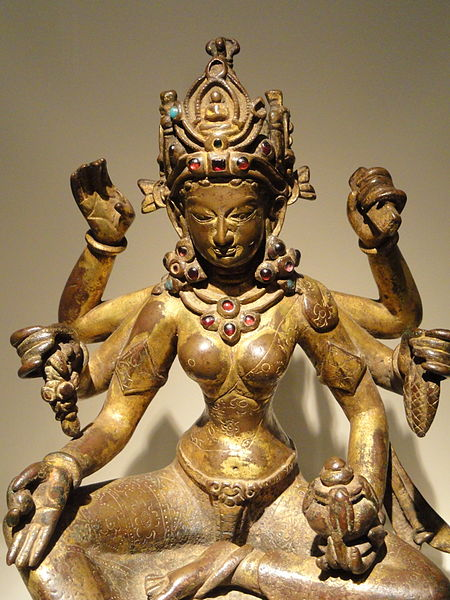 File:Vasudhara, Goddess of Abundance, view 2, Nepal, 1082 AD, gilded copper inlaid with semiprecious stones, traces of vermilion - Arthur M. Sackler Gallery - DSC06053.JPG