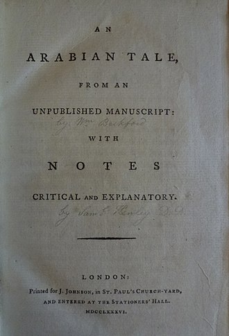 Vathek - Title page of the 1786 edition. A reader has handwritten Beckford's name under the title.