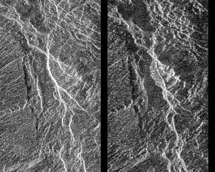 Before and after radar images of a landslide on Venus. In the center of the image on the right, the new landslide, a bright, flow-like area, can be seen extending to the left of a bright fracture. 1990 image. Venus-Landslide.jpg