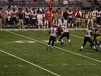 Vick scans the field against the Saints