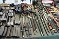 Victory Show Cosby UK 06-09-2015 WW2 re-enactment display Trade stalls Misc. militaria personal gear replicas reprod. originals collect. zaphad1 Flickr CCBY2.0 Ammo mags grease carabine AK47 UZI VIG Browning MG13 bayonets etc IMG 3829.jpg