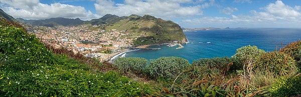 View from the Miradouro Francisco Alvares Nóbrega on Machico, Madeira, Portugal, in the background the Ponta de São Lourenço