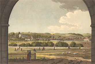 Caversham, Reading - View of Caversham through the inner gateway of Reading Abbey in 1791