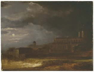 View of Uppsala. Landscape by Moonlight