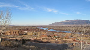 View of the Rio Grande Valley from the old University of Albuquerque NM.jpg