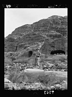 Visit of H.R.H. the Crown Prince of Sweden in December 1934. H.R.H. on a rocky slope of Petra LOC matpc.18636.jpg