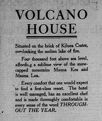 Volcano House - An advertisement in the August 14, 1912 issue of the San Francisco Call