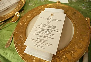Graphics and Calligraphy Office - A calligraphed menu for a state dinner.