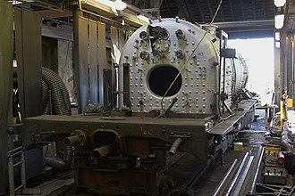 Boston Lodge - Boiler of Welsh Highland NG138 during overhaul at Boston Lodge.