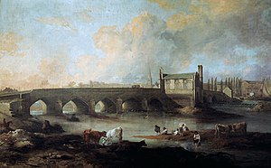 Chantry Chapel of St Mary the Virgin, Wakefield - Wakefield Bridge and Chantry Chapel, Philip Reinagle, 1793.