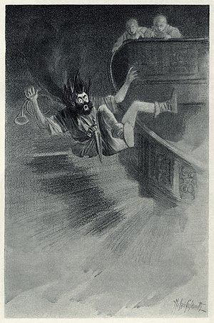 "The Canterville Ghost - ""He met with a severe fall"" – Illustration by Wallace Goldsmith of the effects of a butter slide set up by the twins as part of their campaign of practical jokes against the ghost."